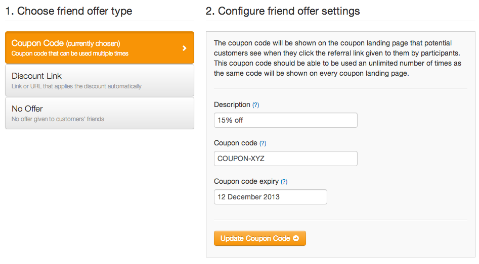 Friend offer - Coupon Code